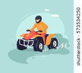 young man riding a quad bike.... | Shutterstock .eps vector #573534250