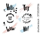 beautiful hand drawn set with... | Shutterstock .eps vector #573535936