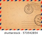retro envelope with stamps ... | Shutterstock .eps vector #573542854