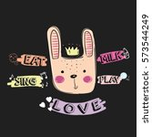 bunny illustration vector with... | Shutterstock .eps vector #573544249