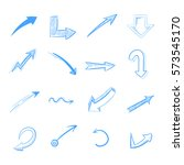 pen drawing arrows vector set... | Shutterstock .eps vector #573545170
