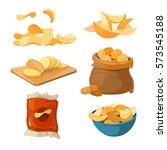 salty fried potato chips snacks ... | Shutterstock .eps vector #573545188