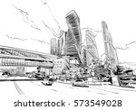 russia. moscow city. hand drawn ... | Shutterstock .eps vector #573549028