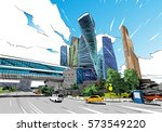 russia. moscow city. hand drawn ... | Shutterstock .eps vector #573549220