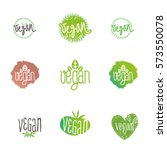 vegan logo vector illustration  ... | Shutterstock .eps vector #573550078