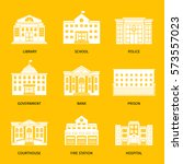 municipal buildings white icons.... | Shutterstock .eps vector #573557023