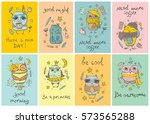 set of 8 vector cards with cute ... | Shutterstock .eps vector #573565288