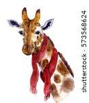 watercolor hipster giraffe.... | Shutterstock . vector #573568624