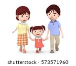 3d illustration  family walk... | Shutterstock . vector #573571960