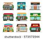 shop and cafe colorful icons... | Shutterstock .eps vector #573573544