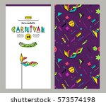 carnival invitation cards in... | Shutterstock .eps vector #573574198
