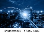 business networking connection... | Shutterstock . vector #573574303