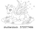 cute baby unicorn fantasy... | Shutterstock .eps vector #573577486