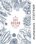 seafood top view illustration.... | Shutterstock .eps vector #573579409