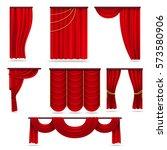 red velvet stage curtains ...   Shutterstock .eps vector #573580906