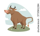 bull on field label or badge.... | Shutterstock .eps vector #573581284