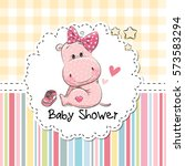 baby shower greeting card with... | Shutterstock .eps vector #573583294