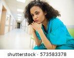 close up of upset female nurse  | Shutterstock . vector #573583378