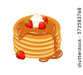 traditional pancakes with... | Shutterstock .eps vector #573583768
