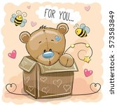 valentine card with a cute... | Shutterstock .eps vector #573583849