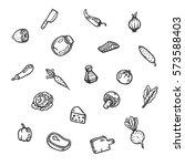 set of food hand drawn doodles. ... | Shutterstock .eps vector #573588403