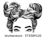 cute girls hairstyles | Shutterstock .eps vector #573589120