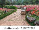 Flower Garden With Bench Wooden.