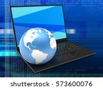 3d illustration of laptop...   Shutterstock . vector #573600076