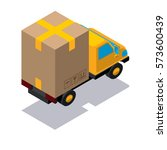 isometric delivery track box... | Shutterstock .eps vector #573600439