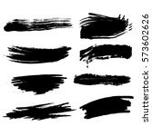 set of black paint  ink  grunge ... | Shutterstock .eps vector #573602626