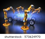 3d rendering  electric car with ... | Shutterstock . vector #573624970