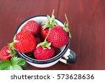 fresh rustic strawberry  in... | Shutterstock . vector #573628636