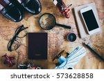 overhead view of traveler's... | Shutterstock . vector #573628858