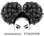 black woman with curly hair | Shutterstock .eps vector #573629398