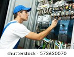 electrician hand with test... | Shutterstock . vector #573630070
