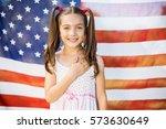 portrait of young girl standing ... | Shutterstock . vector #573630649