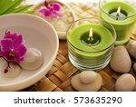 spa still life. aromatherapy... | Shutterstock . vector #573635290