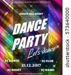 night dance party poster... | Shutterstock .eps vector #573640000