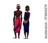 native black aboriginal man and ... | Shutterstock .eps vector #573643279