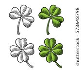 good luck four and three leaf... | Shutterstock .eps vector #573643798