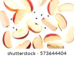 slices of fresh red apple and... | Shutterstock . vector #573644404