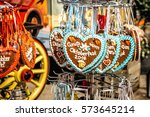 gingerbread hearts at... | Shutterstock . vector #573645214