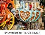 gingerbread hearts at...   Shutterstock . vector #573645214