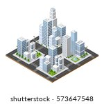 isometric perspective city | Shutterstock . vector #573647548