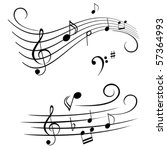 various musical notes on stave | Shutterstock .eps vector #57364993