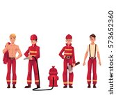 set of firefighters in red... | Shutterstock .eps vector #573652360