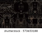 art deco vintage patterns and... | Shutterstock .eps vector #573653188