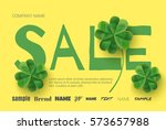 yellow poster with clover... | Shutterstock .eps vector #573657988