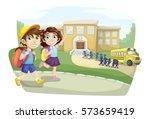 school children going to school ...   Shutterstock .eps vector #573659419