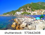 rocky shores and beach near the ... | Shutterstock . vector #573662608